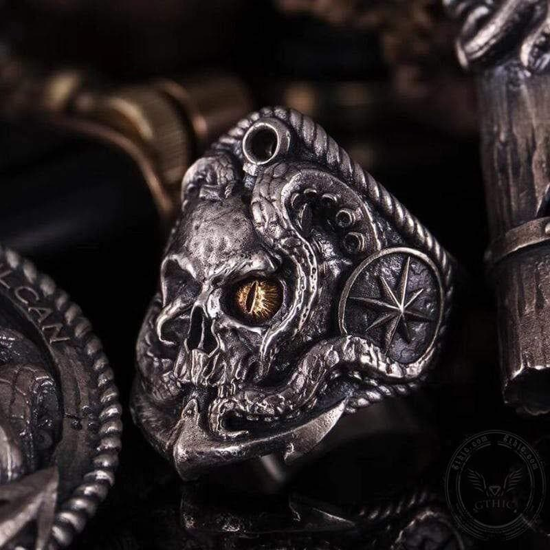Pirate Anchor Sterling Silver Skull Ring