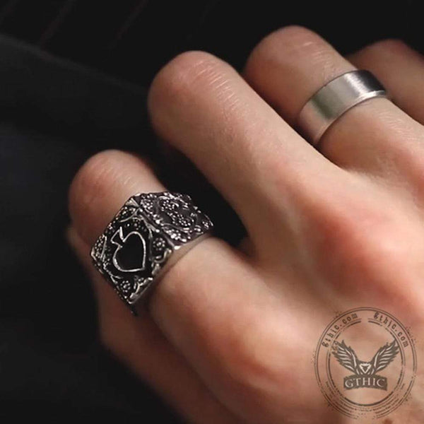 Poker Spades Stainless Steel Biker Ring | Gthic.com