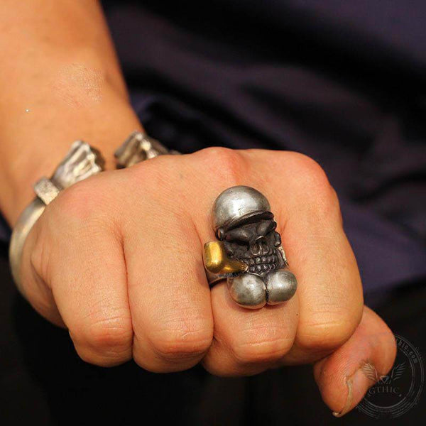 Popeye Sterling Silver Skull Ring
