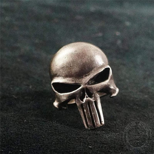 Punisher Brass Sterling Silver Skull Ring