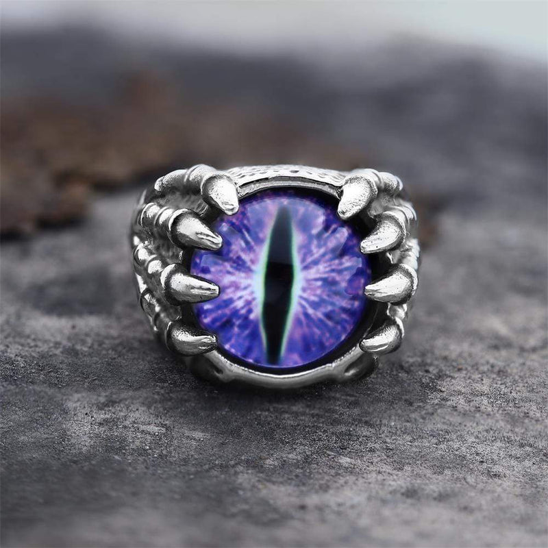 Dragon Eye Stainless Steel Skull Claw Ring
