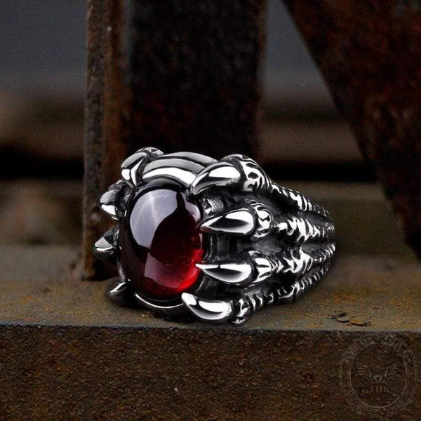 Skull Claw Stainless Steel Gemstone Ring