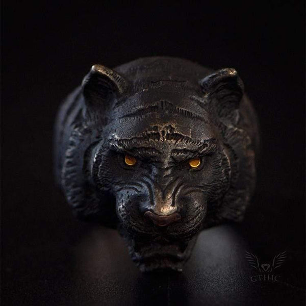 Black Tiger Sterling Silver Copper Ring