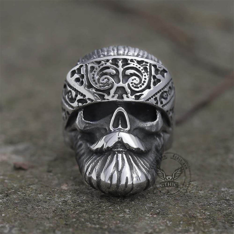 Retro Bearded Man Stainless Steel Skull Ring