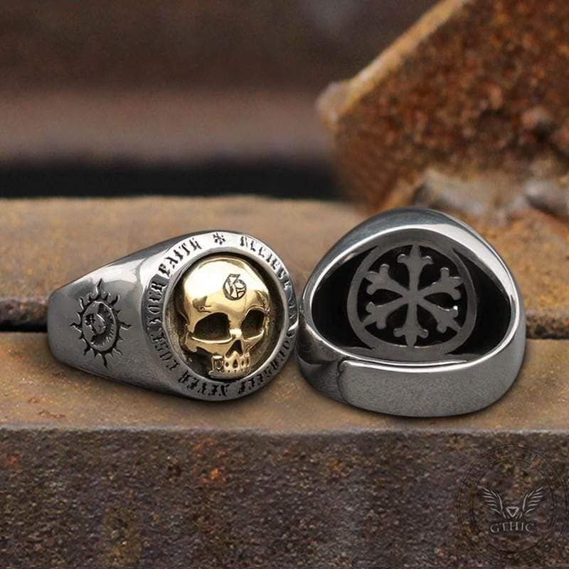 Rock Runes Sterling Silver Skull Ring