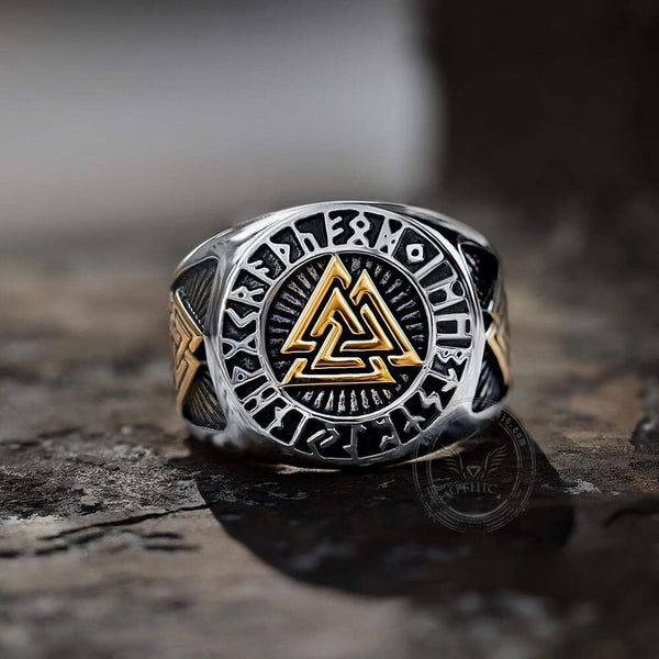 Runes Valknut Triangle Stainless Steel Viking Ring