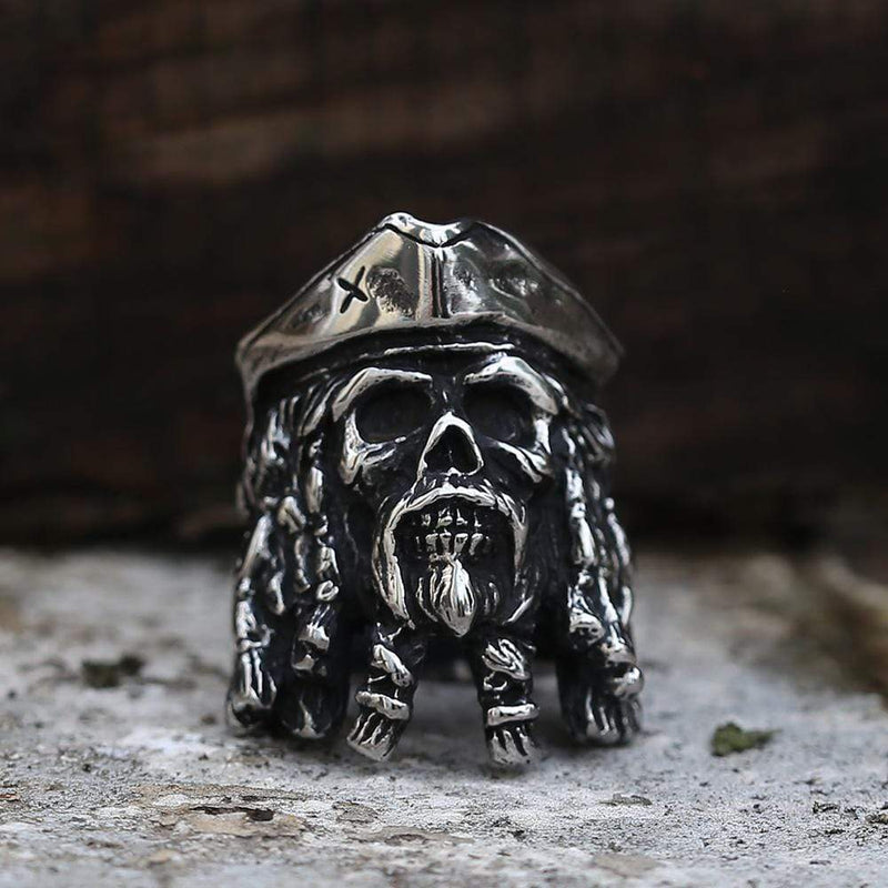 Black Pearl Pirates Stainless Steel Skull Ring | Gthic.com