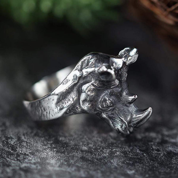 Detailed Rhinoceros Head Stainless Steel Beast Ring | Gthic.com