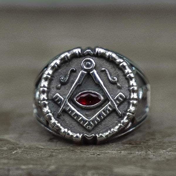 Red Crystal Templar Stainless Steel Masonic Ring