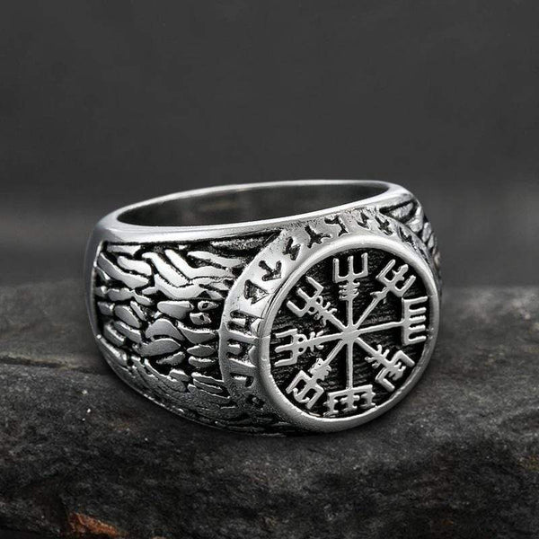 Vegvisir Stainless Steel Viking Compass Ring