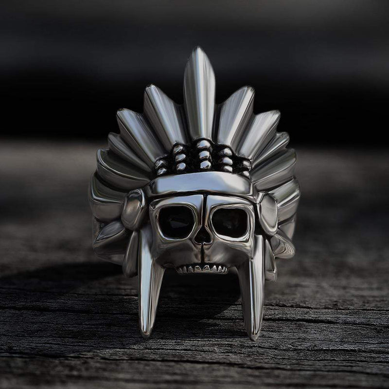 Tribal Chief Stainless Steel Skull Ring