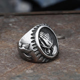 Virgin Mary Praying Hands Stainless Steel Ring