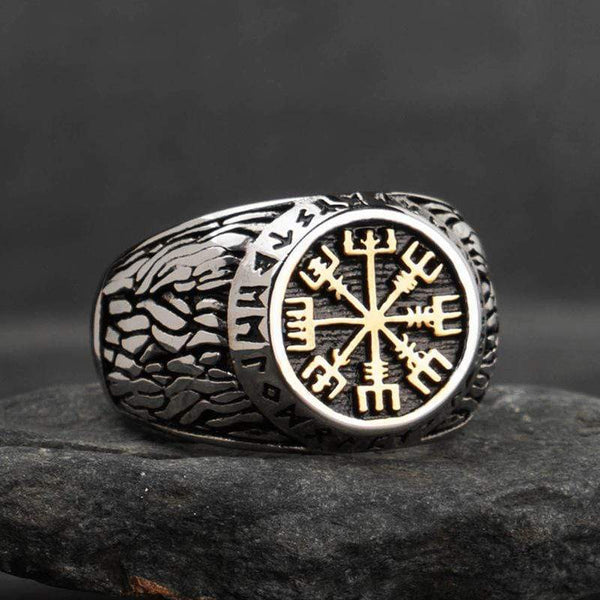 Detailed Compass Stainless Steel Viking Ring