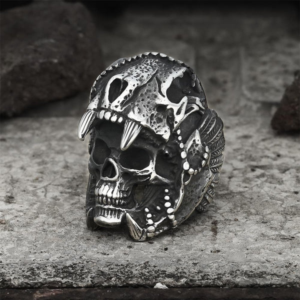 Aztec Jaguar Warrior Skull Ring | Gthic.com