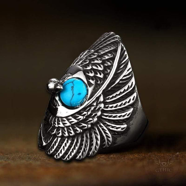 Indian Eagle Stainless Steel CZ Ring