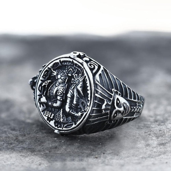 Ancient Egyptian Pharaoh Horus Tutankhamun Stainless Steel Ring