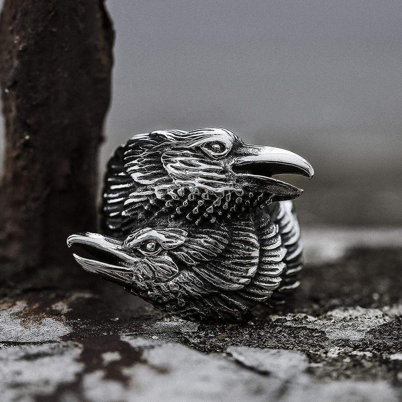 Odin Ravens Huginn and Munin Stainless Steel Viking Ring
