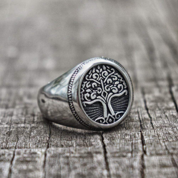 Tree of Life Signet Stainless Steel Viking Ring