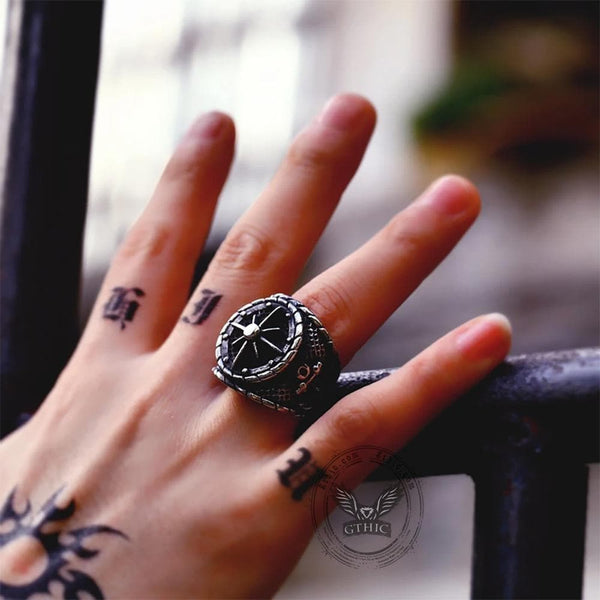 Striking Anchor And Compass Stainless Steel Marine Ring