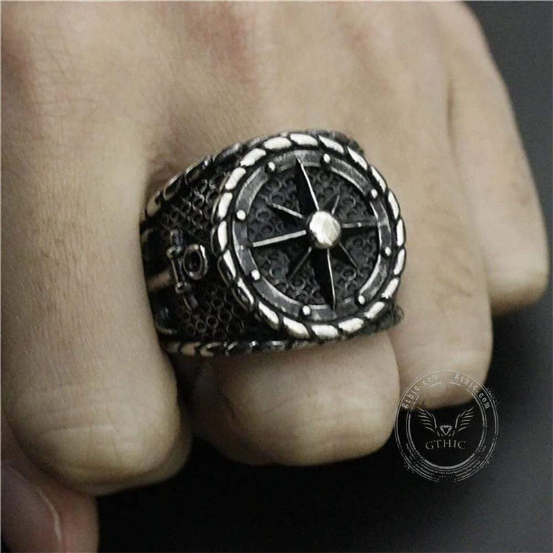 Striking Anchor And Compass Stainless Steel Marine Ring | Gthic.com