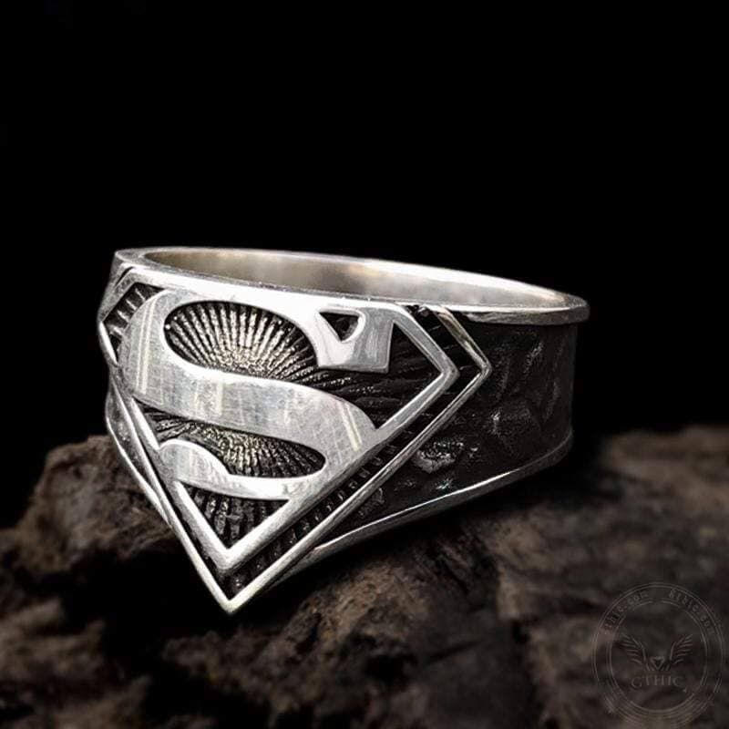 "Superman ""S"" Logo Sterling Silver Movie Ring"