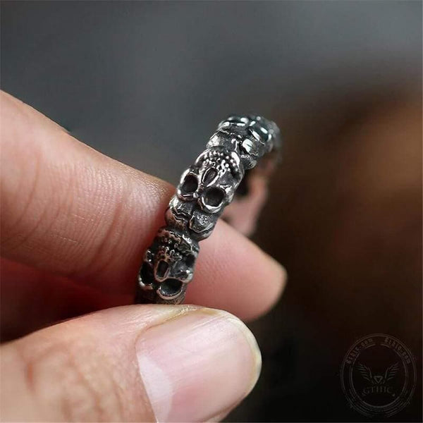 Surrounded Stainless Steel Skull Ring