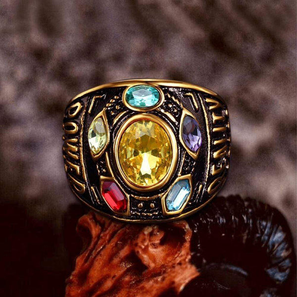 Thanos Infinity Gems Stainless Steel Acrylic Ring