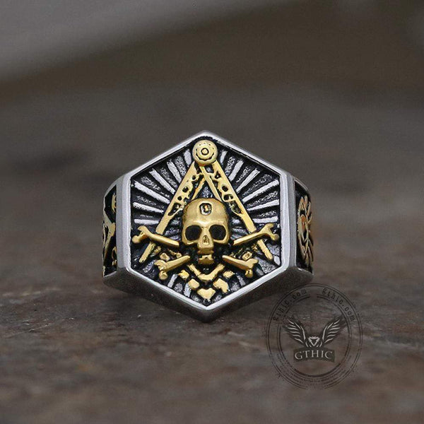 Thick Stainless Steel Skull Masonic Ring