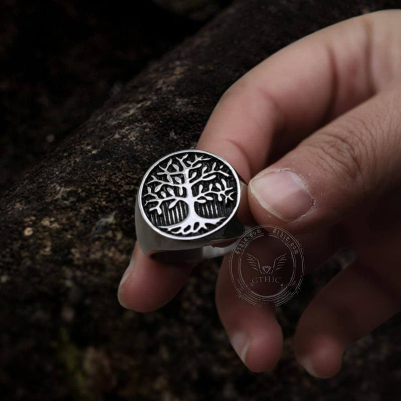 Tree Of Life Stainless Steel Viking Ring