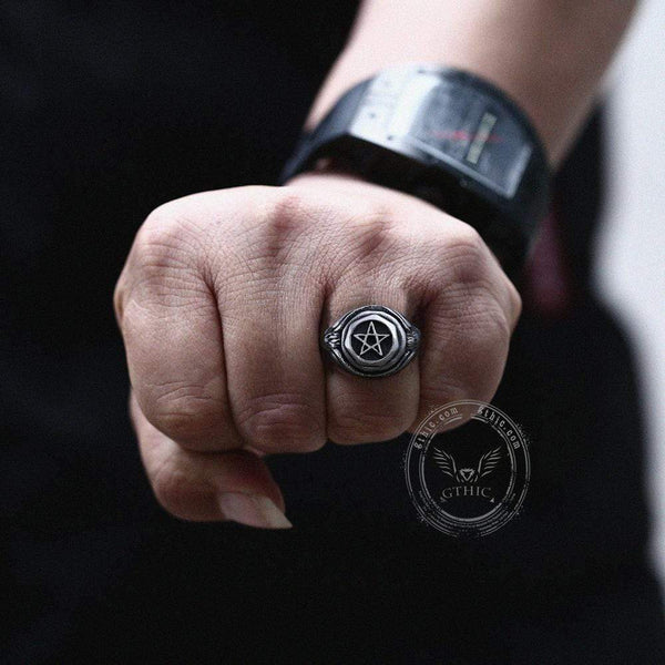 Trendy Pentagram 316L Stainless Steel Masonic Ring