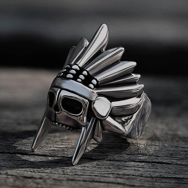 Tribal Chief Stainless Steel Skull Ring | Gthic.com