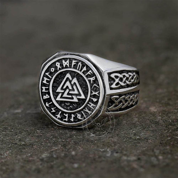 Valknut Runes Celtics Knot Stainless Steel Viking Ring