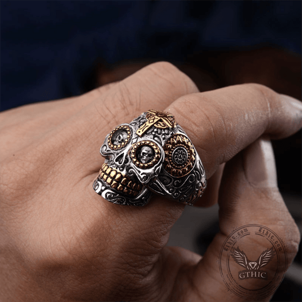Vintage Cross Sugar Skull Ring