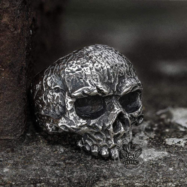Vintage Rugged Stainless Steel Skull Ring