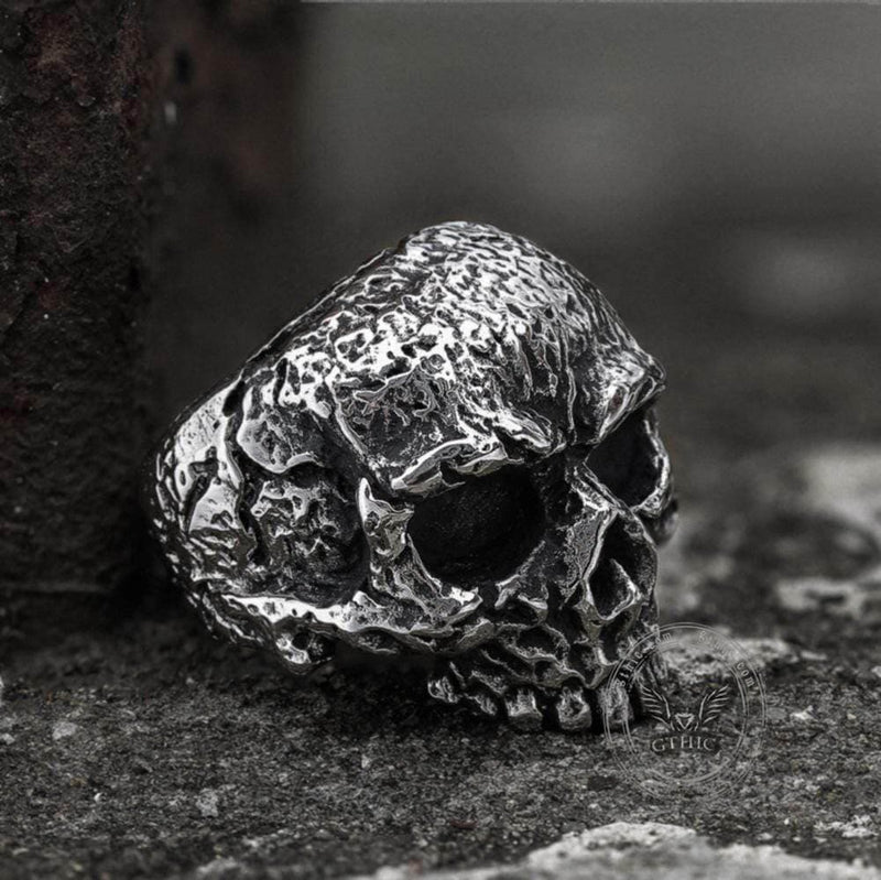Vintage Rugged Stainless Steel Skull Ring | Gthic.com