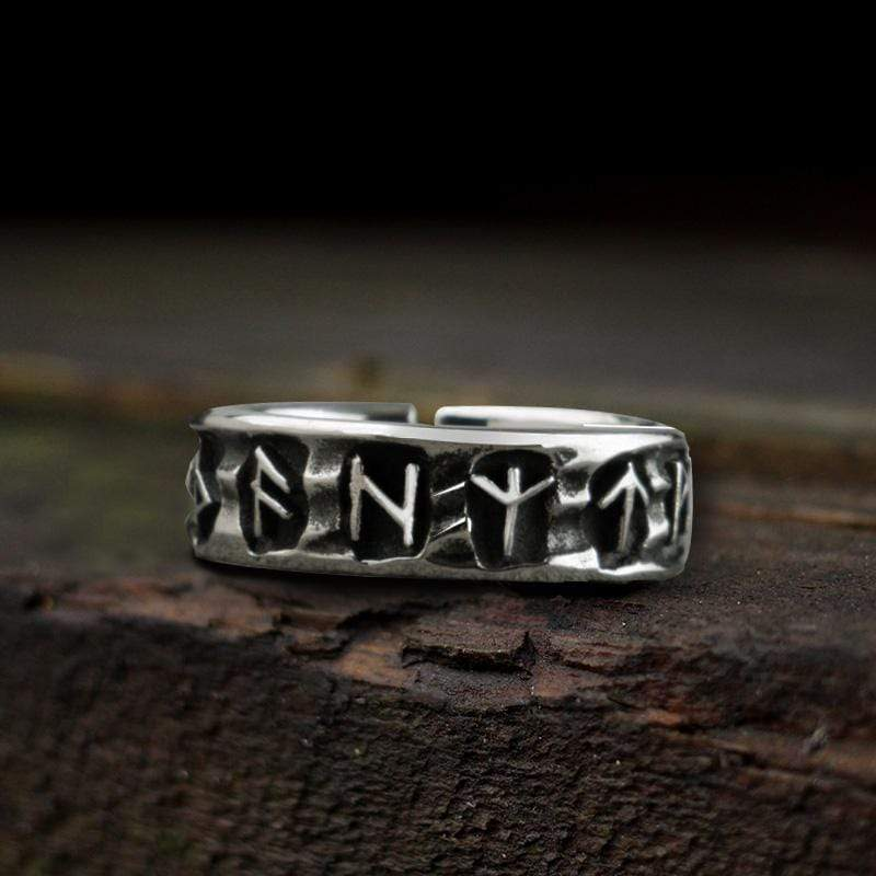 Vintage Rune Sterling Silver Viking Ring