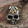 Vintage Vine 316L Stainless Steel Skull Masonic Ring