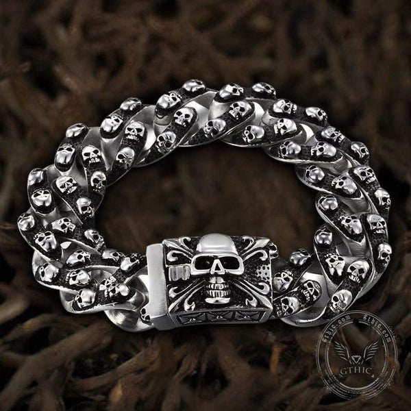 Punk Ghost Head Sterling Silver Skull Bracelet