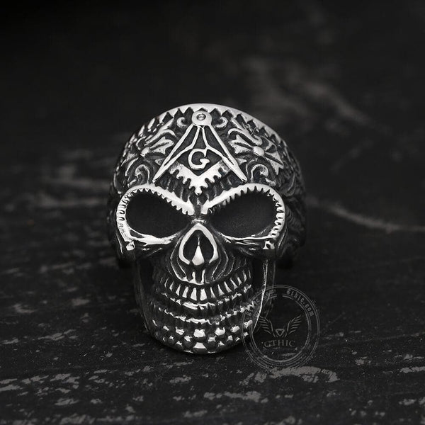 Heavy Metal Masonic Skull Ring | Gthic.com
