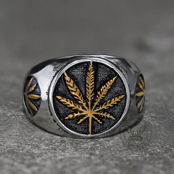 Hemp Leaf Stainless Steel Ring