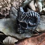 Horned Devil Stainless Steel Skull Ring