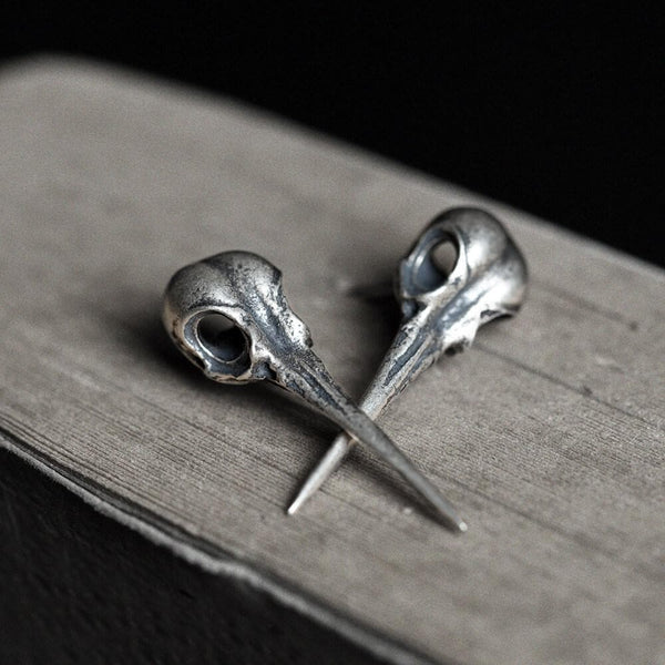 Hummingbird Skull Sterling Silver Stud Earrings