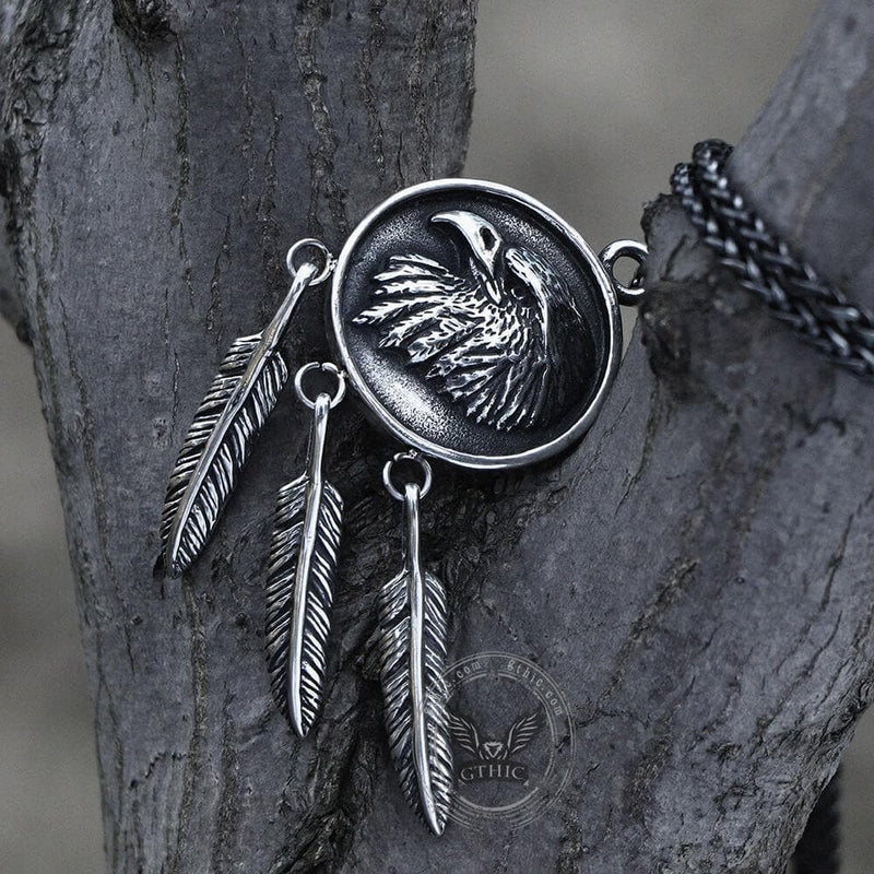 Indian Eagle Feather Stainless Steel Pendant