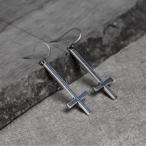 Inverted Cross Sterling Silver Earrings