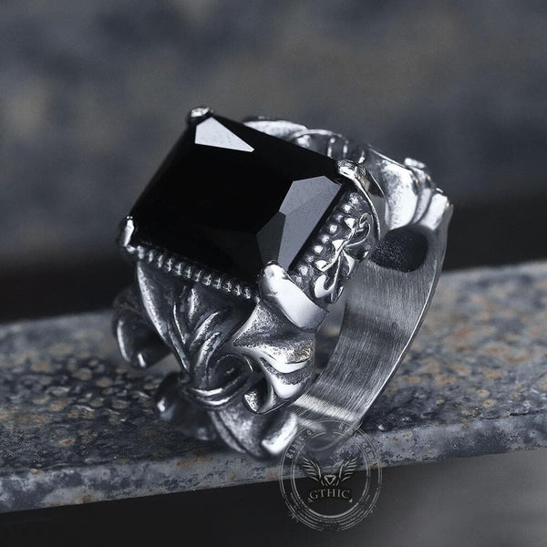 Iris Pattern Gem Stainless Steel CZ Ring