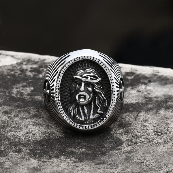 Jesus Cross Stainless Steel Religious Ring
