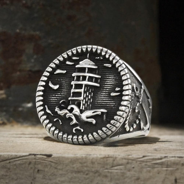 Lighthouse Anchor Stainless Steel Marine Ring