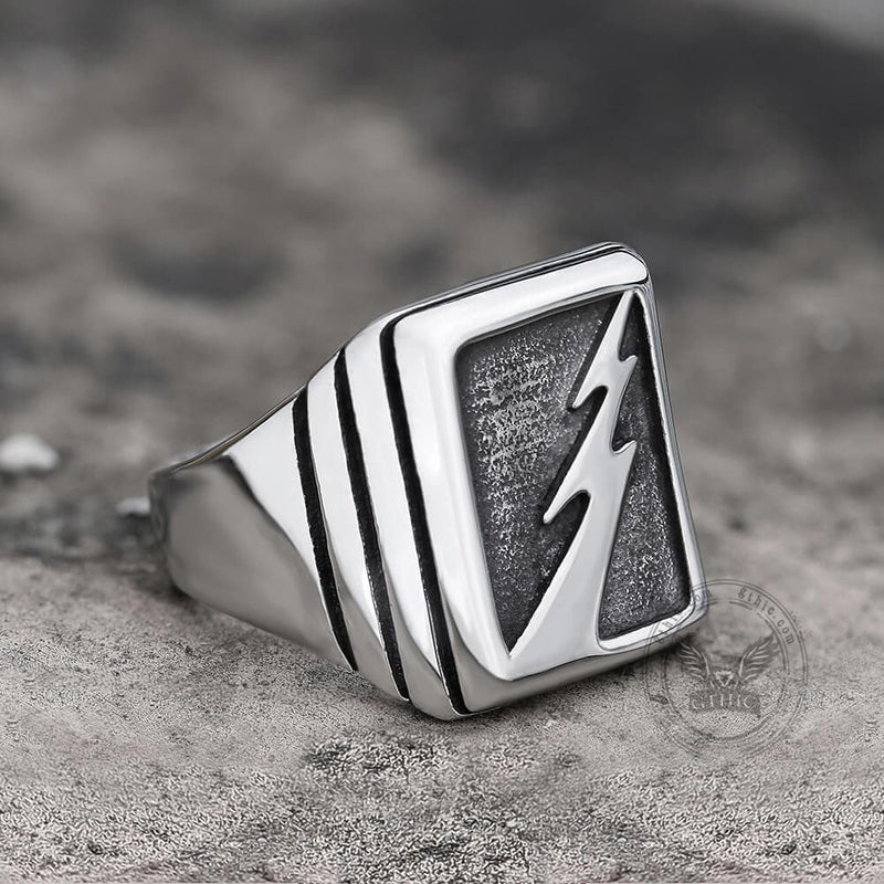 Lightning Bolt Stainless Steel Ring