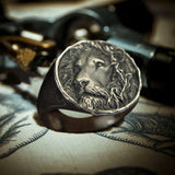 Vintage Lion King Sterling Silver Seal Ring