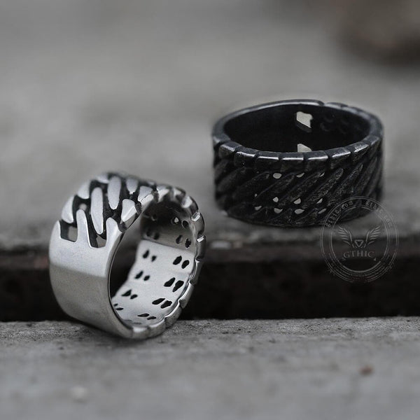 Locomotive Style Chain Stripes Stainless Steel Ring